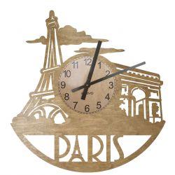 Paryż Zegar Ścienny Drewniany