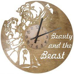 Piękna i Bestia Zegar Ścienny Drewniany