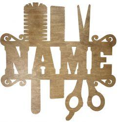 Salon Fryzjerski Twoja Nazwa Dekoracja Drewniana Dla Niej lub Dla Niego na Prezent 109 Kolorów do Wyboru
