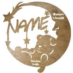 Narodziny Dziecka Twoje Imię Dekoracja Drewniana Dla Niej lub Dla Niego na Prezent 109 Kolorów do Wyboru