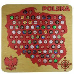 Polska Mapa 30x30 cm 3D Kapslownica Piwo Na Kapsle Tablica Piwa Piwna 109 Kolorów Do Wyboru Na Prezent Dla Niego